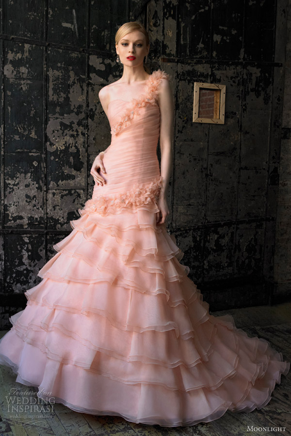 moonlight bridal collection fall 2012 peach pink wedding dress j6243