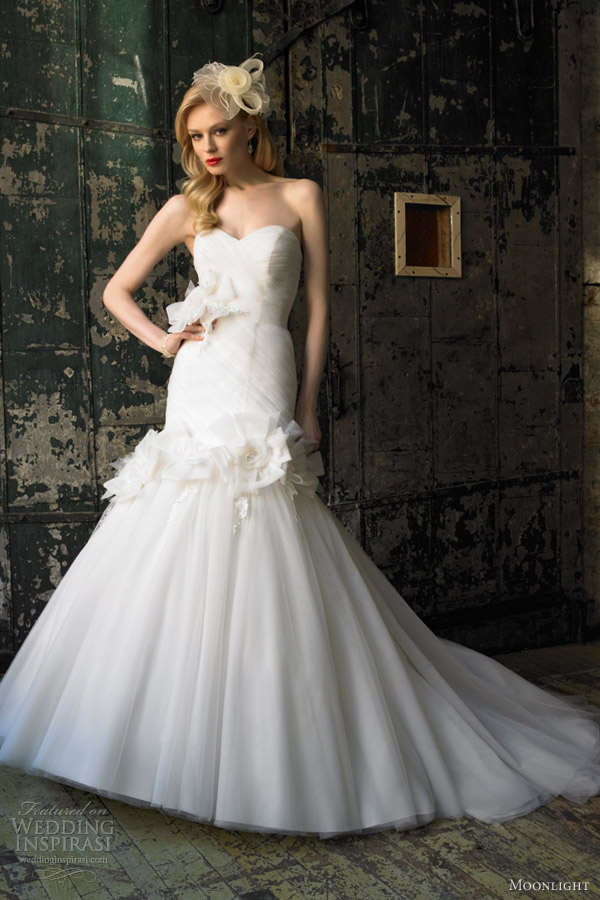 moonlight bridal collection fall 2012 strapless mermaid gown j6231