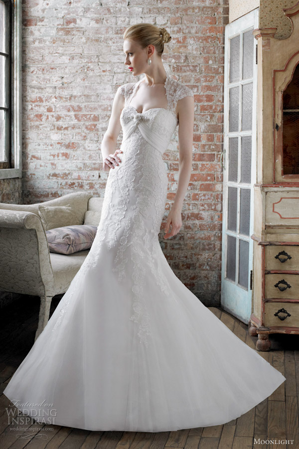 moonlight bridal gowns fall 2012 embroidered lace mermaid wedding dress queen anne style j6242