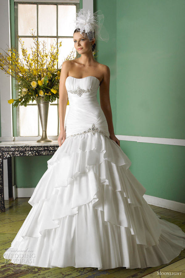 moonlight bridal gowns fall 2012 taffeta fit and flare wedding dress j6232