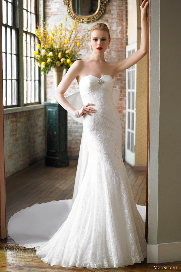 moonlight bridal wedding dress fall 2012 chantilly lace strapless trumpet gown style j6234