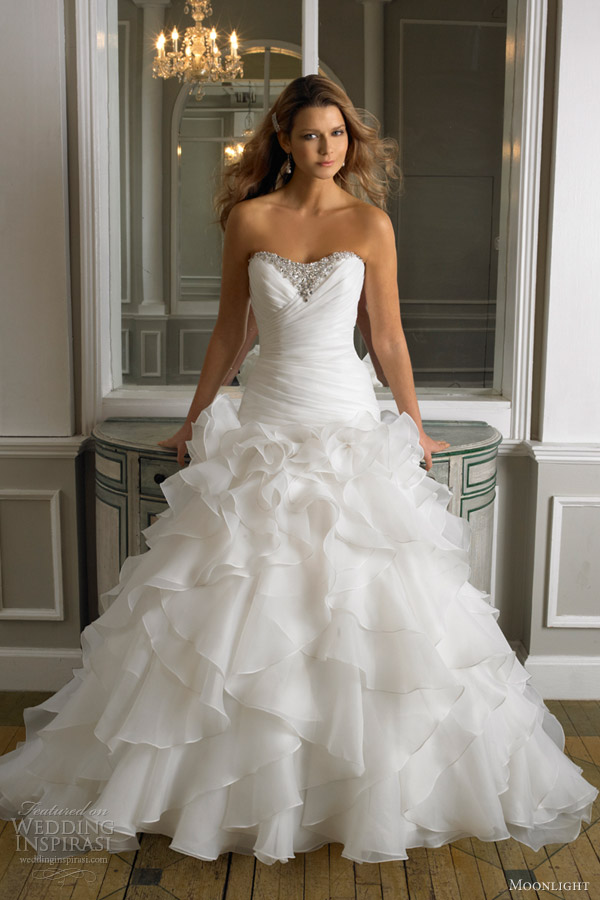moonlight bridal wedding dresses fall 2012 strapless gown drop waist organza fit and flare style j6241
