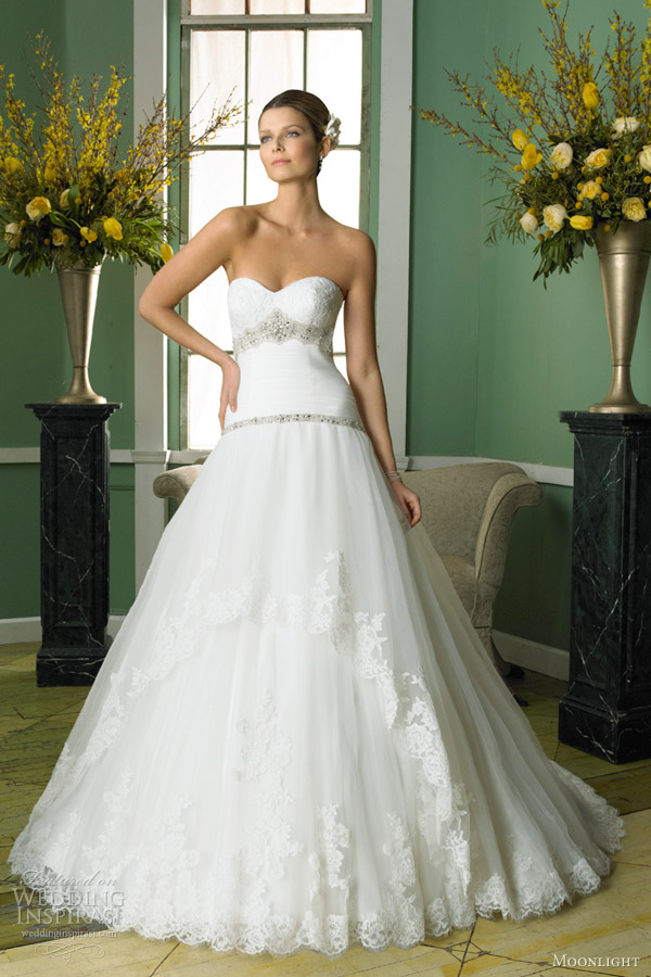moonlight fall 2012 strapless lace ball gown sweetheart style j6244