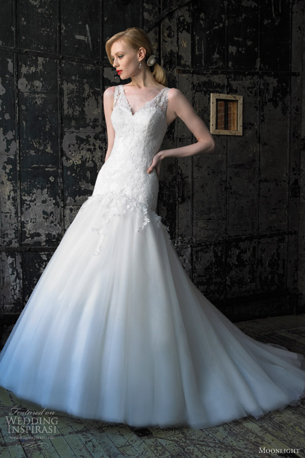 moonlight wedding dresses fall 2012 sleeveless fit flare drop waist style j6238