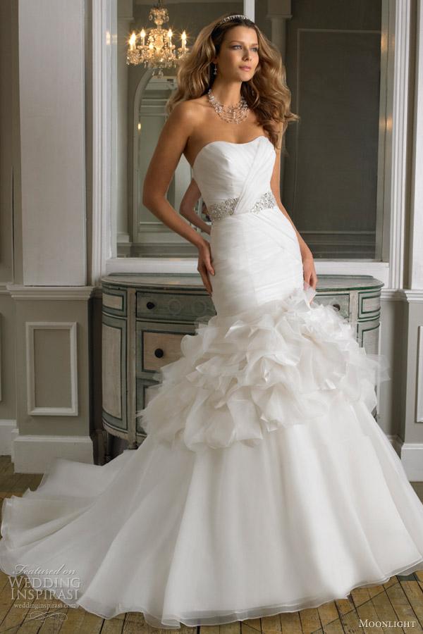 moonlight wedding dresses fall 2012 strapless mermaid gown organza tulle taffeta style j6237