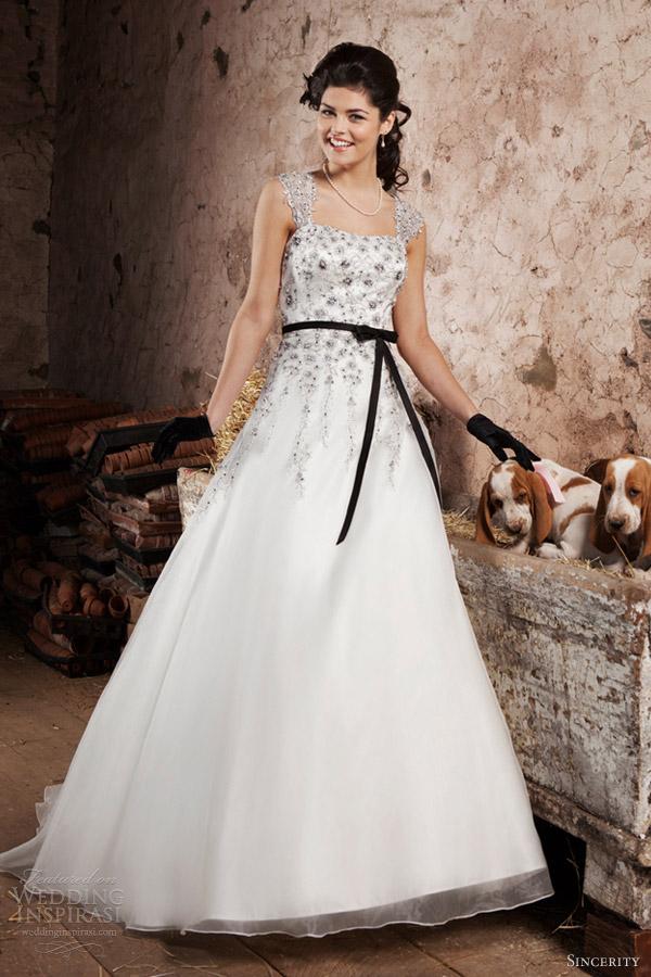 sincerity bridal 2013 strapless weddubg dress detachable cap sleeves black sash 3714
