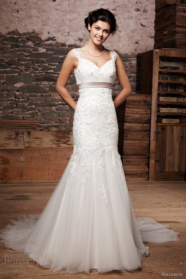 sincerity bridal wedding dresses 2013 tulle cap sleeve gown sweetheart neckline 3705