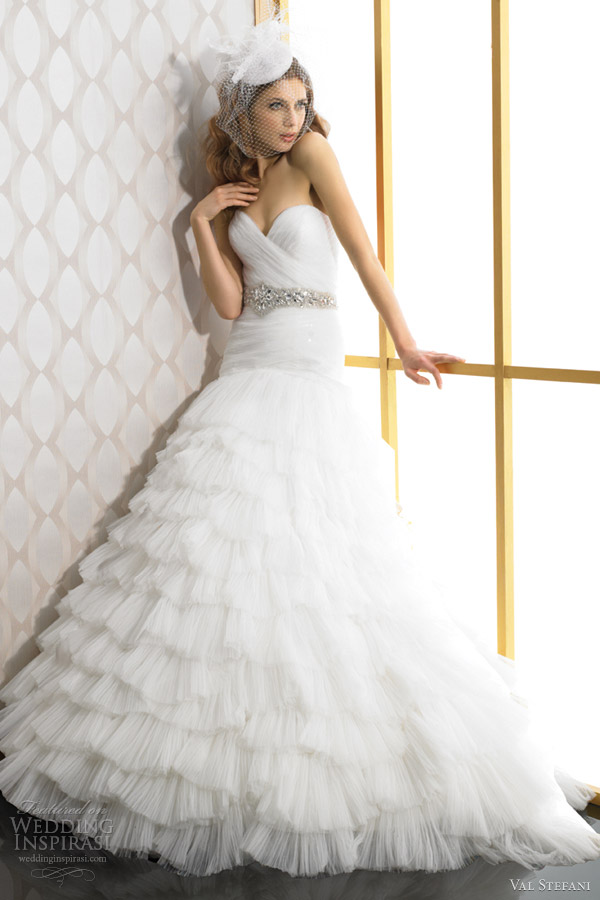 val stefani bridal fall 2012 strapless a line ruffle wedding dress d8026