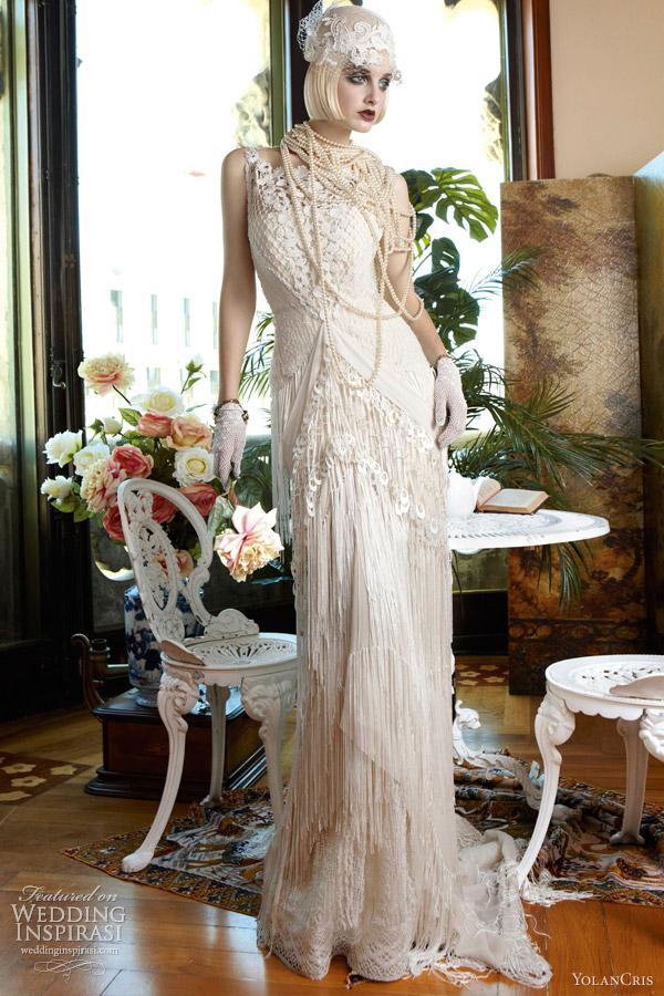 yolan cris 2013 taiwan wedding dress crochet fringe skirt