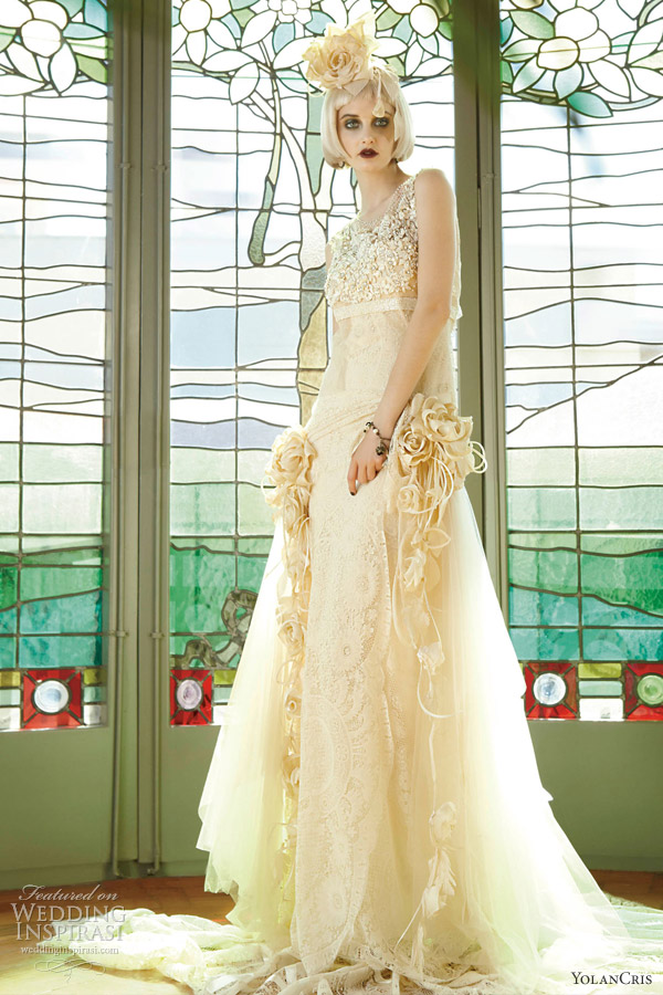yolan cris wedding dresses 2013 le mans romantic bridal gown embellished