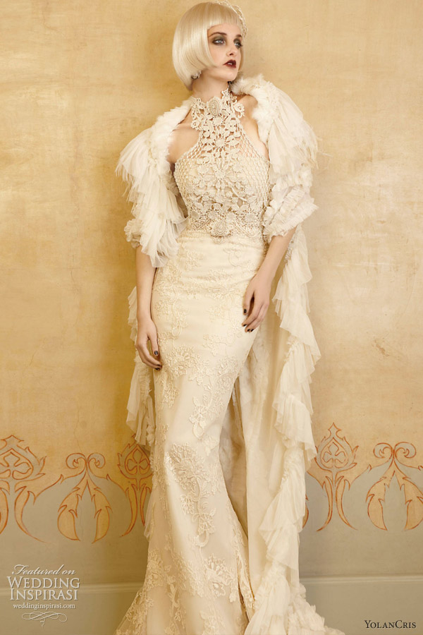 yolan cris wedding dresses 2013 valance halter gown crochet embroidery