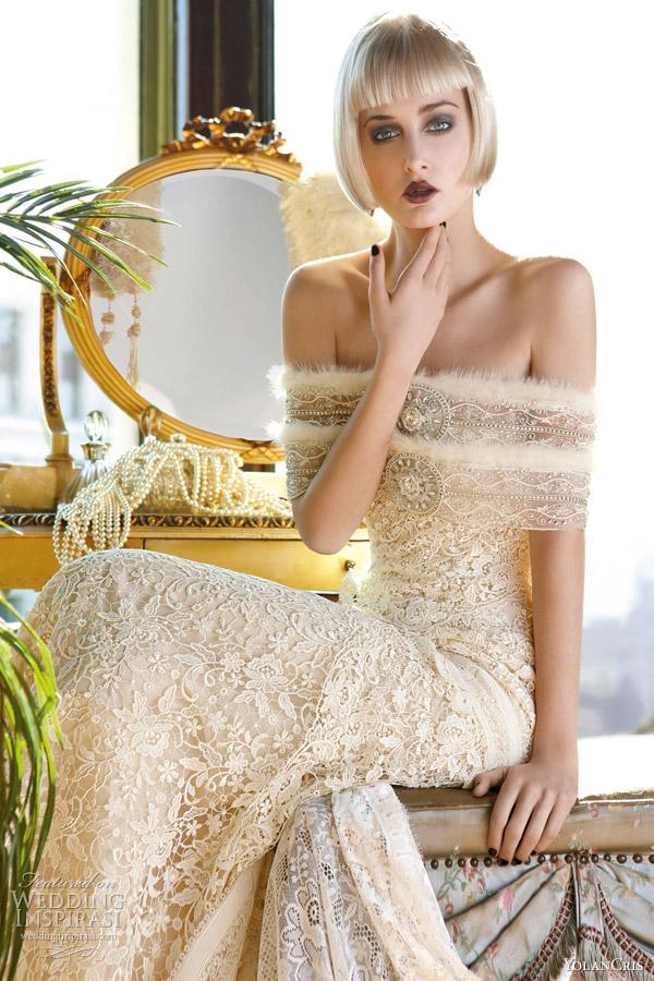yolancris 2013 mademoiselle vintage beirut strapless guipure wedding dress