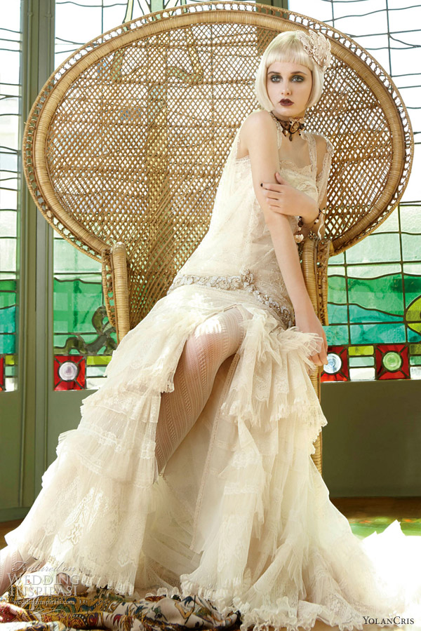 yolancris wedding dresses 2013 grecia cream lace gown straps