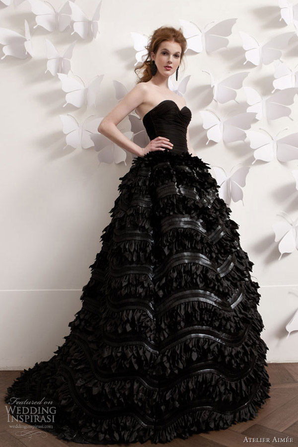 atelier aimee 2013 black strapless wedding dress ball gown