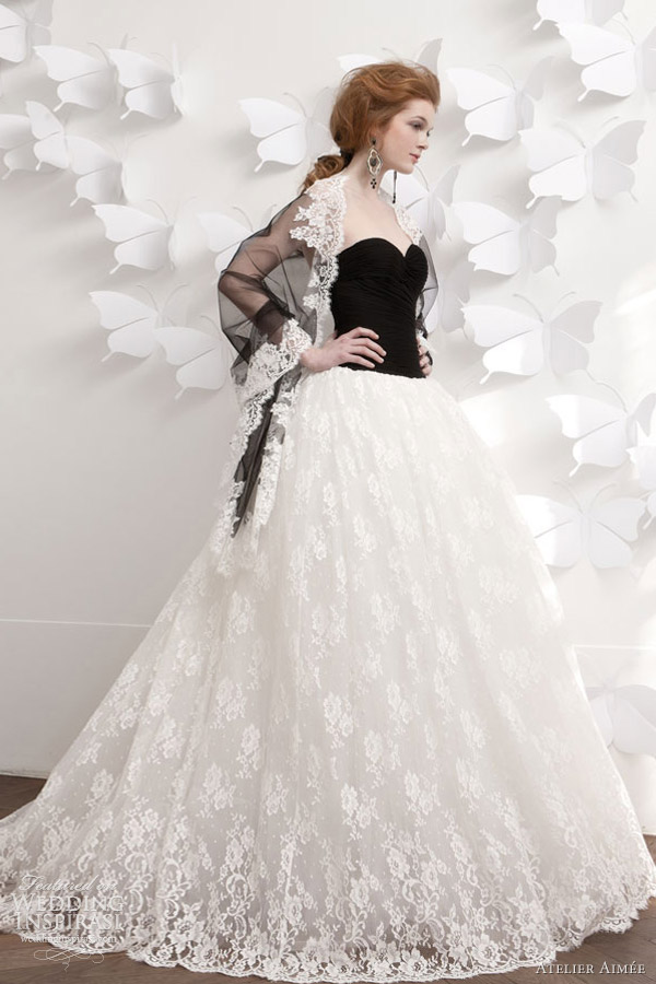 atelier aimee 2013 black white wedding dress
