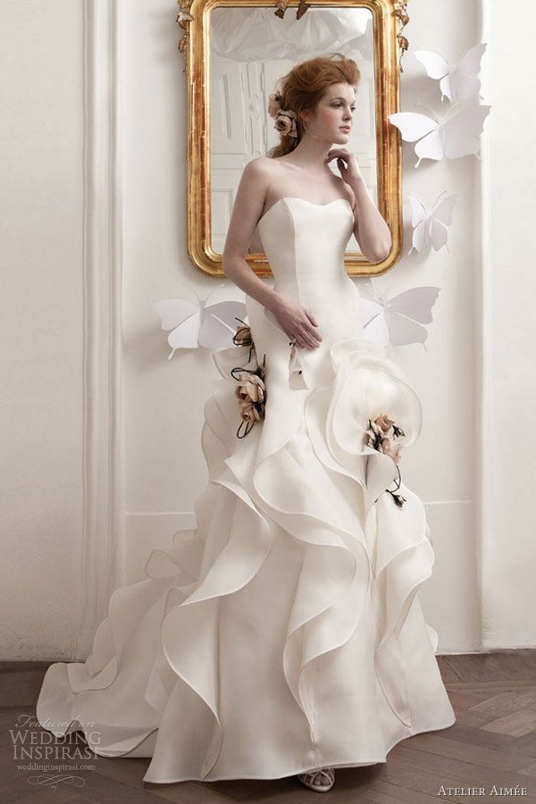 atelier aimee 2013 strapless wedding dress ruffle skirt