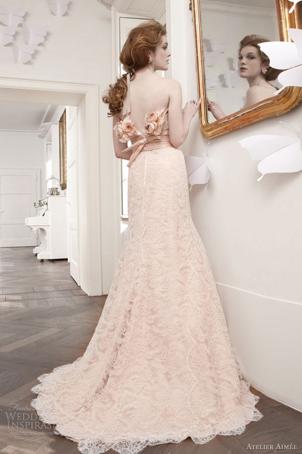 atelier aimee bridal 2013 rosa cipria peach pink lace sheath gown