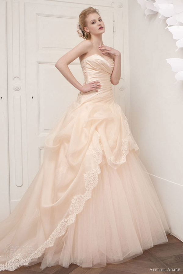 Atelier aim e 2013 wedding dresses wedding inspirasi for Peach dresses for wedding