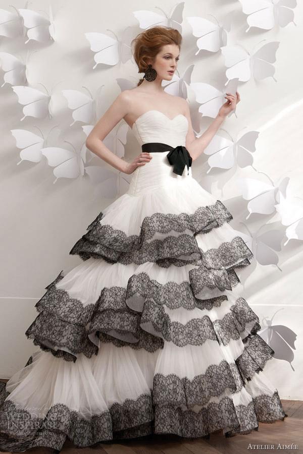 white wedding dress with black lace | Wedding
