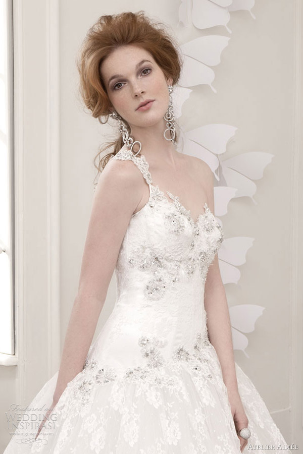 atelier aimee wedding dresses 2013 one shoulder lace ball gown crystals