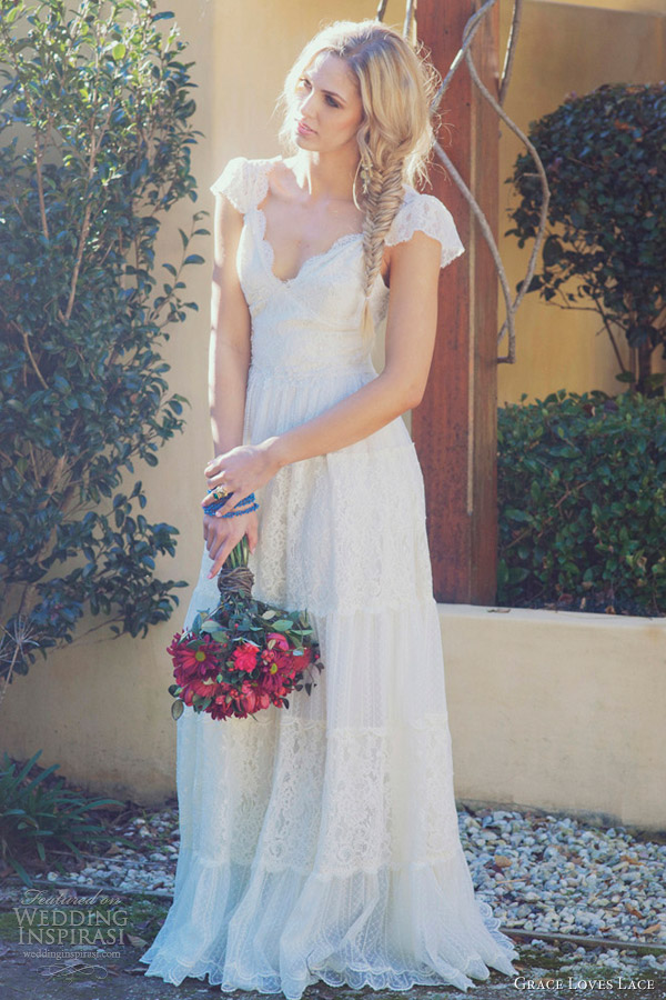 grace loves lace bridal gowns 2012 charlotte wedding dress puff cap sleeves