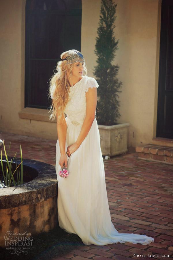 grace loves lace wedding dresses ariel gown lace cap sleeves