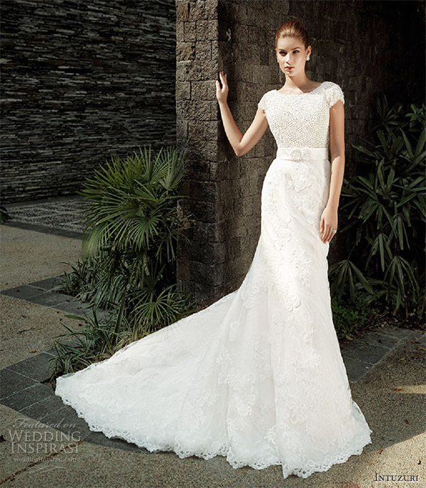 intuzuri bridal gowns wedding dresses augustine lace sheath short sleeves