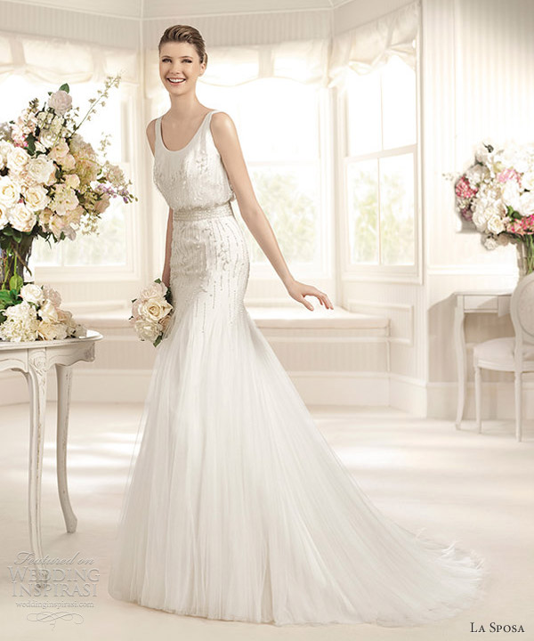 la sposa 2013 bridal maraca sleeveless blouson gown bead tank bodice straps