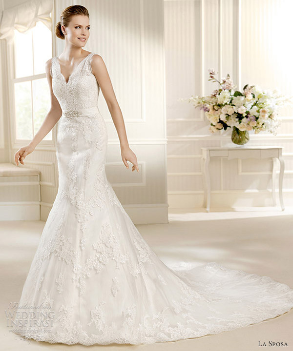 la sposa 2013 bridal matra sleeveless lace fit flare v neck gown straps