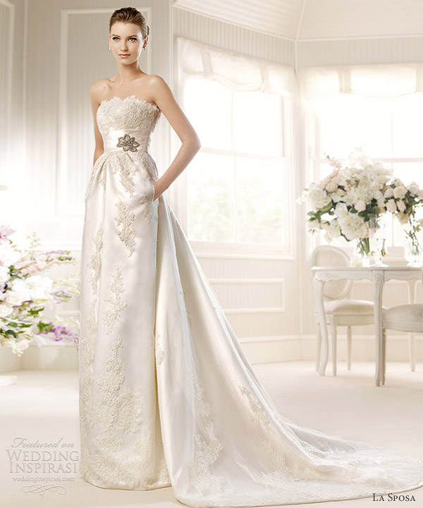 la sposa 2013 bridal medallon strapless column gown