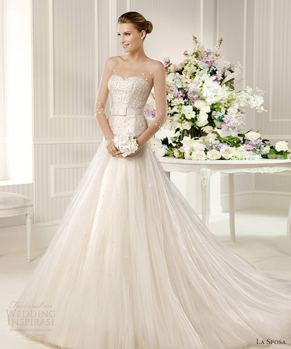 la sposa 2013 bridal monarca illusion sleeves wedding dress