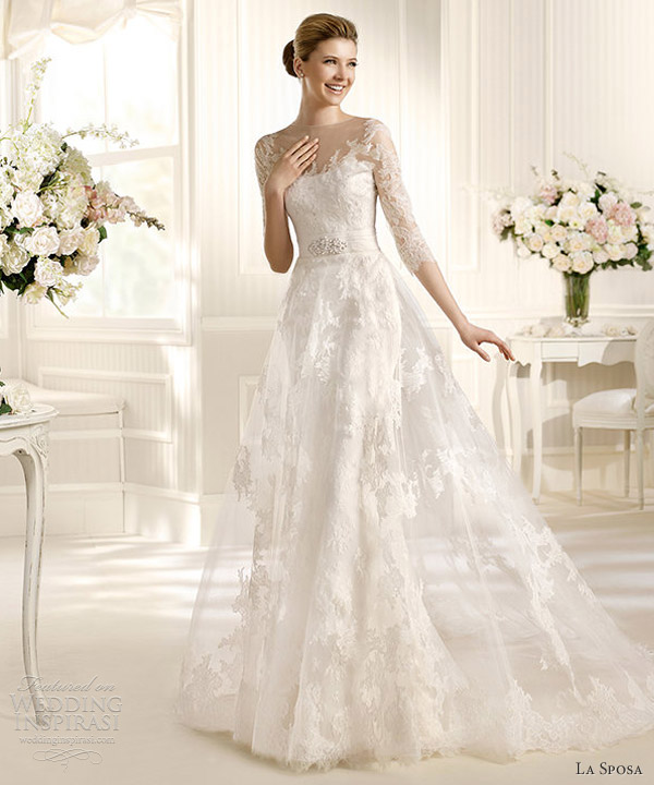 la sposa 2013 costura marzo wedding dress illusion sleeves
