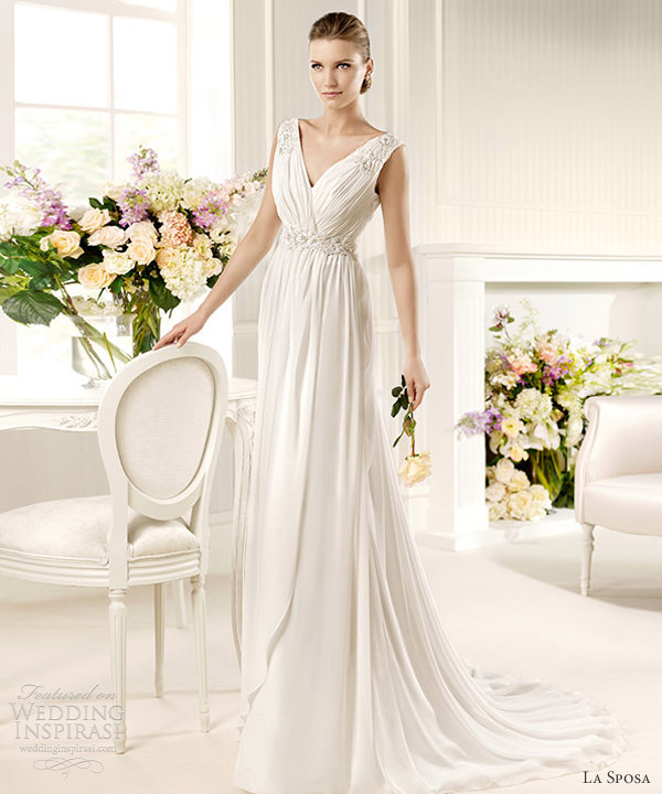 la sposa 2013 fashion bridal musgo sleeveless drape gown embroidered straps