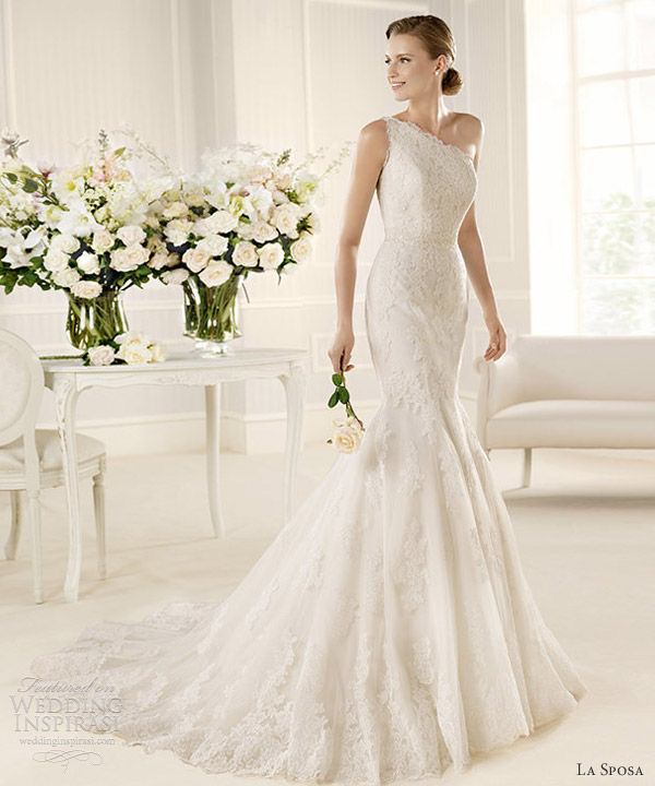 la sposa 2013 fashion mulata one shoulder lace wedding dress