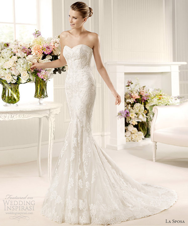 la sposa 2013 fashion mullet strapless sweetheart fit flare wedding dress