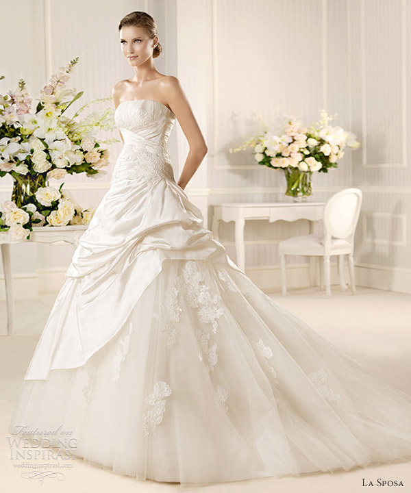 la sposa 2013 mariposa strapless ball gown pick up skirt