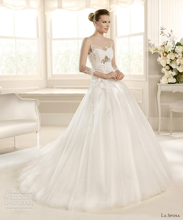 la sposa 2013 wedding dress mineral illusion long sleeve gown