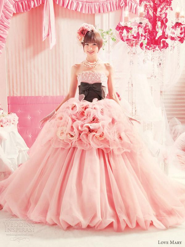 love mary pink ball gown wedding dresses mariko shinoda