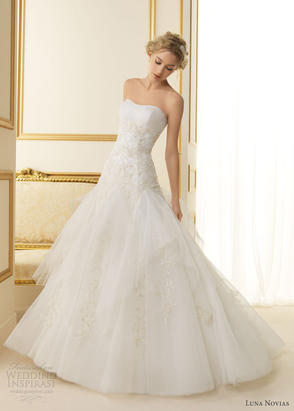 luna novias 2013 tentacion strapless wedding dress