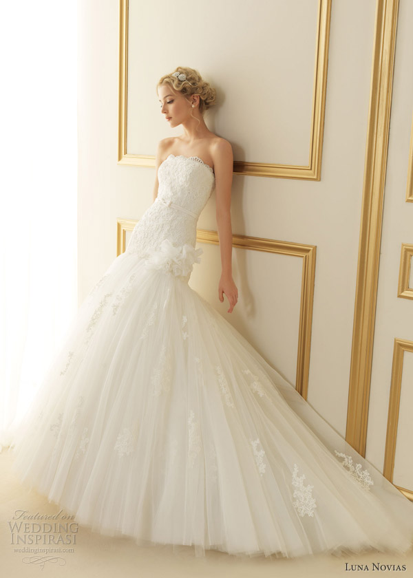 luna novias 2013 thais strapless wedding dress