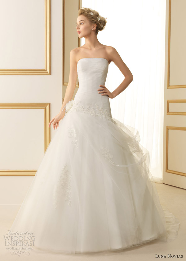 luna novias bridal 2013 termal strapless gown gathered skirt