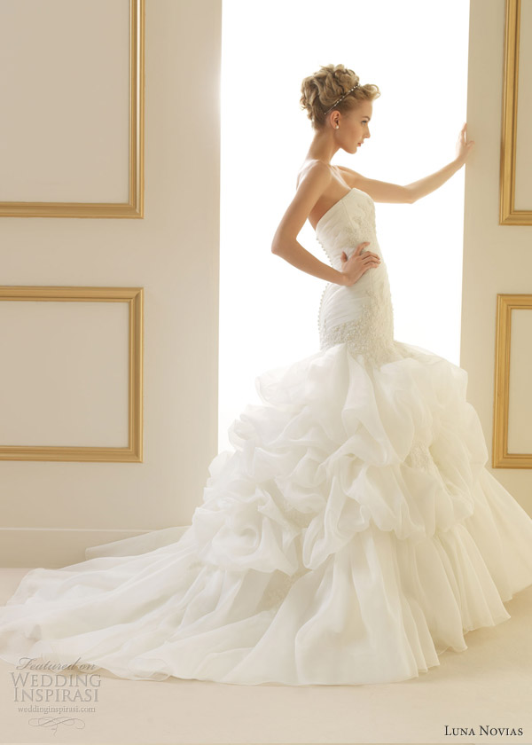 luna novias wedding dresses 2013 tilo strapless gown ruffle skirt