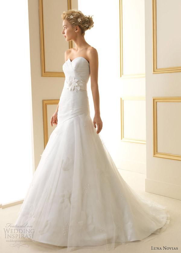 luna novias wedding dresses 2013 trevol sweetheart neckline gown