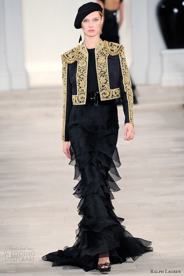ralph lauren spring 2013 rtw black embroidered jacket layered mermaid skirt