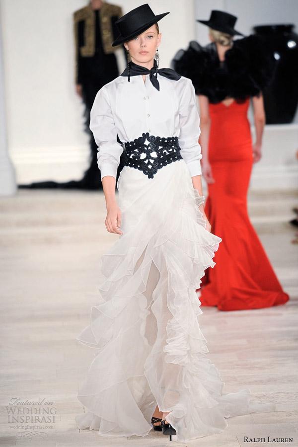 ralph lauren spring 2013 rtw white shirt ruffle skirt