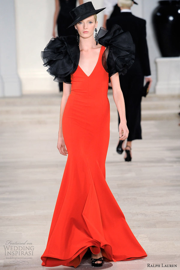 ralph lauren spring summer 2013 red dress black ruffle bolero