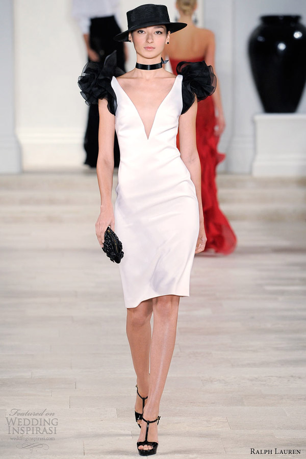 ralph lauren spring summer 2013 white dress black organza ruffle sleeves