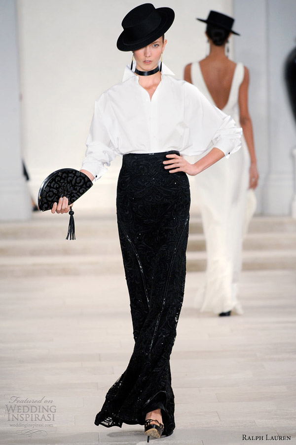 ralph lauren spring summer 2013 white shirt black skirt