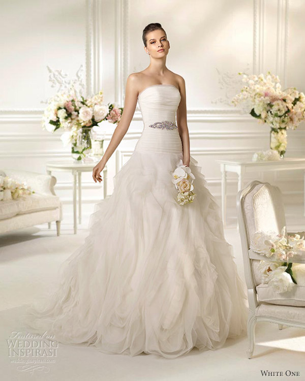 White one wedding dresses 2013 noray strapless gown flange skirt