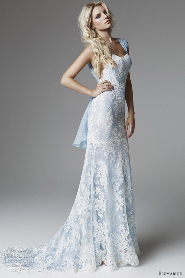 Blumarine 2013 bridal collection wedding inspirasi for White wedding dress with blue accents